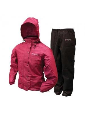 Frogg Toggs Women's All Purpose Rain Suit, Cherry/Black, Small