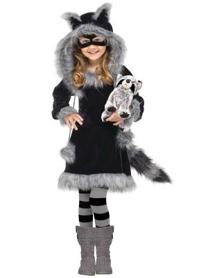 Sweet Raccoon Kids Costume,Black / Gray Medium (8-10)