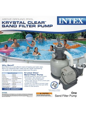 Intex Krystal Clear Sand Filter Pump for Above Ground Pools, 2100 GPH Pump Flow Rate, 110-120V with GFCI