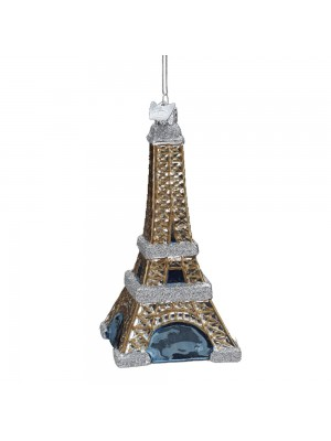 Kurt Adler 5-Inch Noble Gems Glass Eiffel Tower Ornament