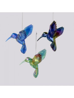 Shiny Acrylic Hummingbird Ornaments (set OF 3 Assorted)
