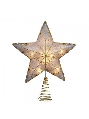 Kurt Adler 10-Light Reflector Star Treetop, 8.5-Inch, Gold