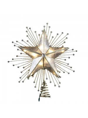 Kurt Adler 10-Inch 5-Point Capiz Star Treetop with Rays and Beads