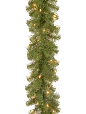 National Tree 9-Feet by 10-Inch North Valley Spruce Garland with 50 Battery Operated Dual LED Lights