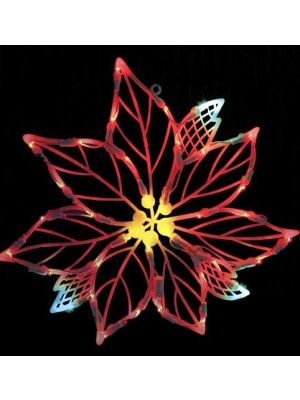Northlight Seasonal Lighted LED Poinsettia Flower Christmas Window Silhouette Decoration, 15""