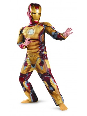 Marvel Iron Man 3 Mark 42 Boys Classic Muscle Costume, 3T-4T