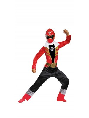 Disguise Saban Super MegaForce Power Rangers Red Ranger Classic Boys Costume, Medium/7-8