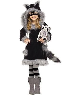 Fun World Costumes Baby Girl's Sweet Raccoon Toddler Costume, Black/Grey, Large (4- 6)