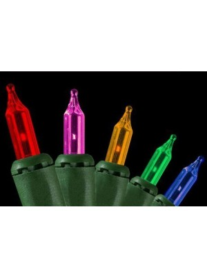 Set of 100 Multi-Color Synchronized Musical Mini Christmas Lights - Green Wire