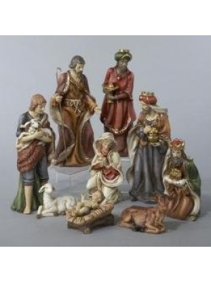 9-Piece Classical Porcelain Christmas Nativity Figure Set