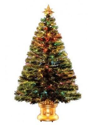 National Tree Fiber Optic Christmas Tree Gold 3' 140 Tips