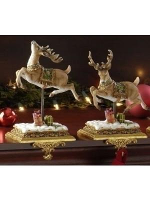 "Set of 2 Joseph's Studio Victorian Inspirations Reindeer Christmas Stocking Holders 8.5"""