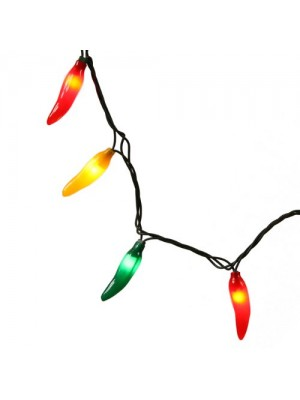Set of 35 Red, Green and Yellow Chili Pepper Christmas Lights - Green Wire