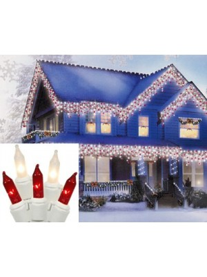 Set of 100 Candy Cane Red and Clear Frosted Mini Icicle Christmas Lights - White Wire