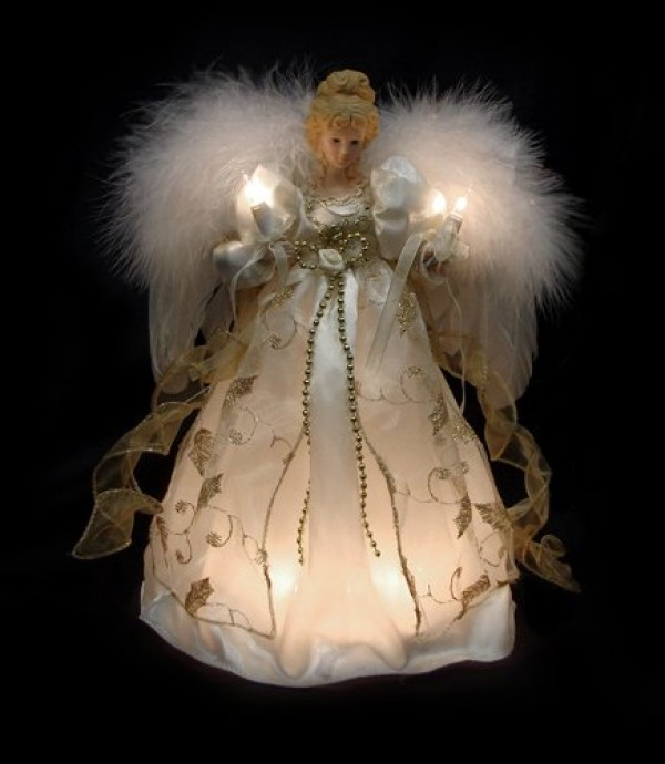 12 lighted cream gold angel christmas tree topper clear lights christmas